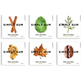 Simply Gum, Assorted Natural Chewing Gum, 6 Pack, 90 Pieces (Mint, Cinnamon, Ginger, Fennel, Coffee, Maple)