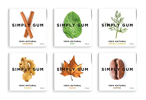 Simply Gum, Assorted Natural Chewing Gum, Non GMO, Vegan, 6 Packs (90 Pieces) - Includes Mint, Cinnamon, Ginger, Fennel, Coffee, Maple