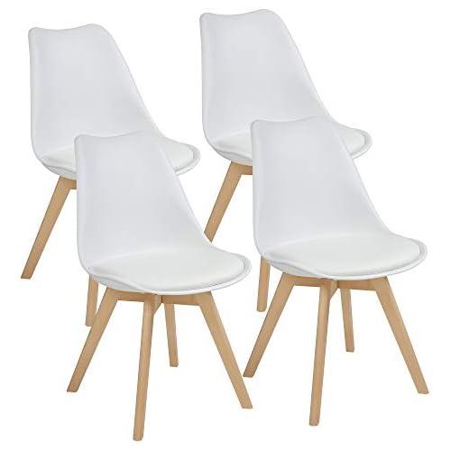 chollos oferta descuentos barato Albatros Sillas de Comedor AARHUS Juego de 4 Blanco con Patas en Madera Maciza Haya Diseño Retro Escandinavo