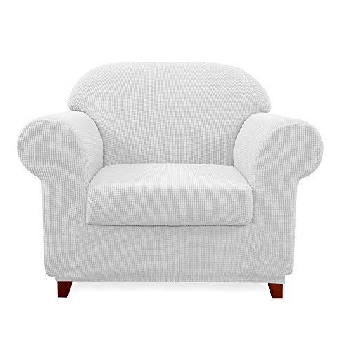 Subrtex 2-Piece Spandex Stretch Sofa Slipcover (Chair, - Arm White With Slipcover Chair
