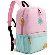 Large Size Kids Backpack for School Lunch Bag Chest Clip for 4-7 Years Old, Pink