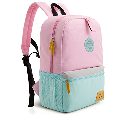 mommore Large Size Kids Backpack for School Lunch Bag Chest Clip for 4-7 Years Old, - Kids Backpack Pink