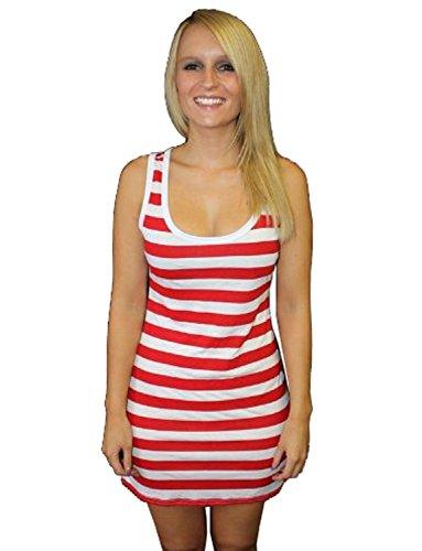 Red And White Stripey Striped Long Vest Top (XXL) (Happy Halloween Waldo)