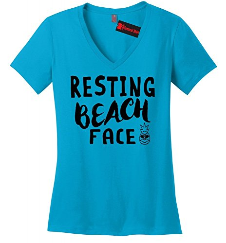 Comical Shirt Ladies V-Neck Tee Resting Beach Face Turquoise S