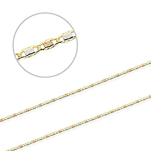 Tri- Color 14K Valentino Chain, Rose Gold, Yellow Gold, and White Gold With Fancy Etching (20) by Jewel Connection