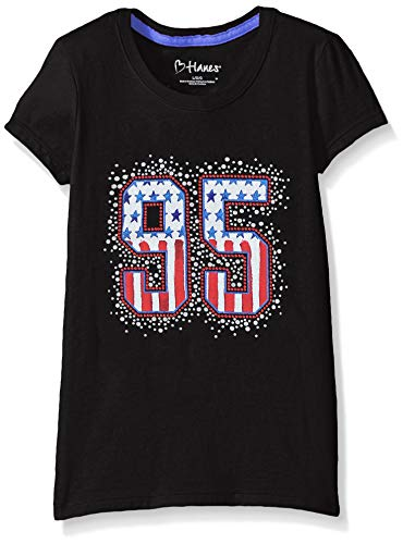 Hanes Girls' Short Sleeve Graphic T-Shirt, USA 95 Ebony, -