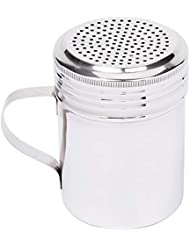 10 Oz Stainless Steel Dredge Shaker with Handle, Spice Dispenser for Cooking/Baking by Tezzorio