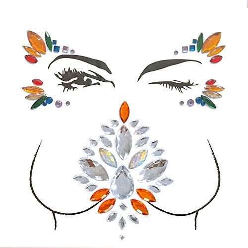 Body Jewels Rhinestone Sticker Face Breast Tattoo Sticker Temporary Tattoo Adhesive Stickers Glitter Jewel Decoration for Crystal Festival(2 Sets)]()