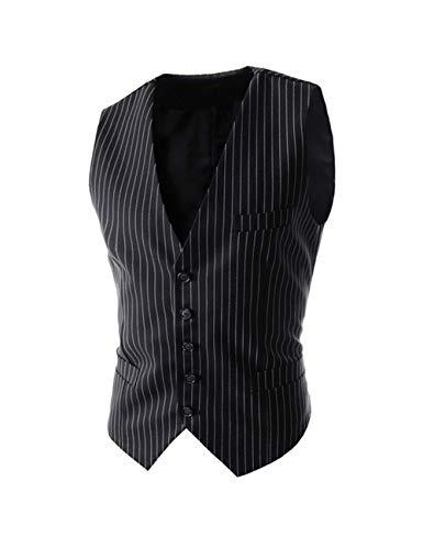 SAOVERE Men's Pinstripe Suit Vest Slim Fit Casual Business Waistcoat Jacket Vests