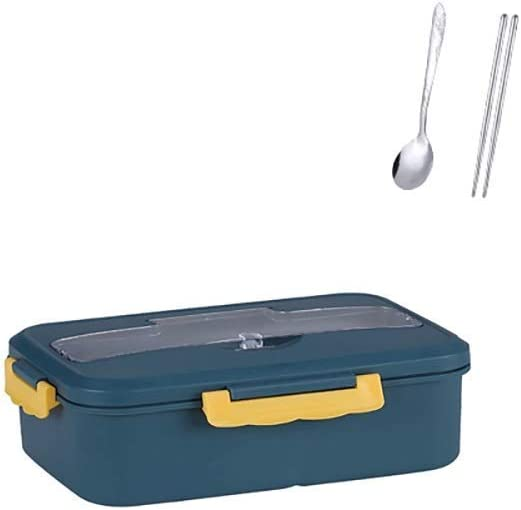 LZZB Bento Box 1000ml Fiambrera Contenedor de Comida Fiambrera de Paja de Trigo Fiambrera con vajilla Viaje Escolar Fiambrera Bento Box