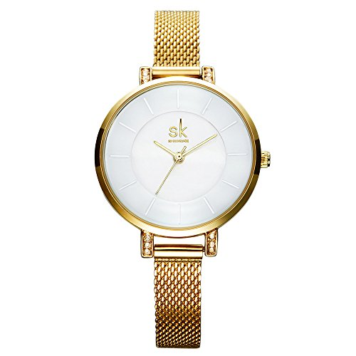 SK Women Watches Ultra Thin White Dial Quartz Watches Stainless Steel Watches Strap Gold/Silver Watches on Sale (Gold) (Stainless Watch White Dial)