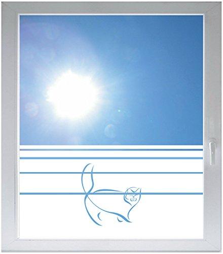 INDIGOS UG Privacy film glass decoration film window film Dynamic stripe satin opaque - d312 fat cat - 1000 mm height - 500 mm ()