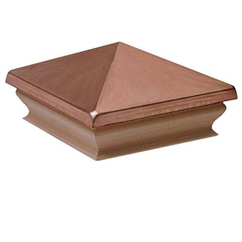 Woodway Copper Pyramid 6x6 Post Cap - Premium Redwood Wood Base Post Cap, Newel Post Top 6 x 6, Fits Up to 5.5 x 5.5 Inch Post, 1PC ()