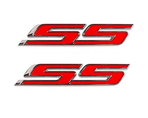 Aimoll 2pcs SS Emblems ABS Sticker 3d Logo for IMPALA COBALT Camaro 2010 2011 2012 2013 2014 2015 2016 2017. (Chrome Red)