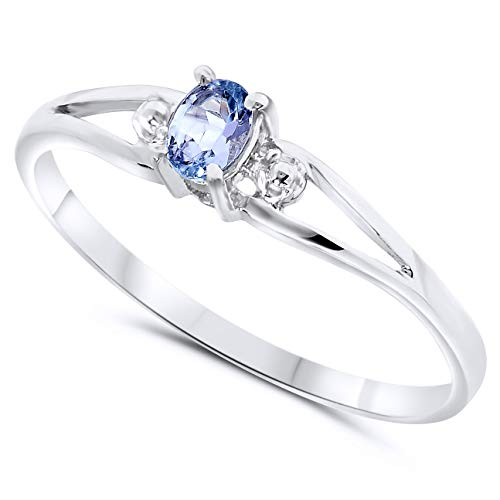10k White Gold Oval Tanzanite Stackable Promise ()