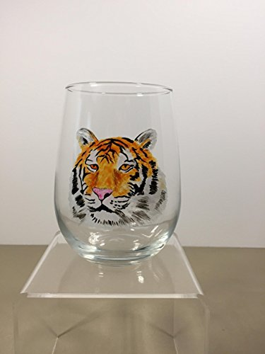 Hand Painted Tiger 17 oz Stemless Glass