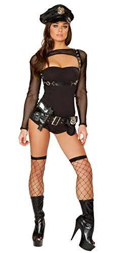 Adam's Temptation Dirty Cop Exotic Police Lingerie 4-Piece Costume Set (One (Dirty Dancing Halloween)