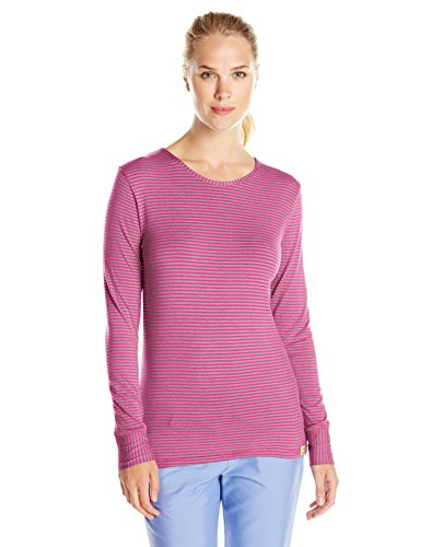 WonderWink Women's Scrubs Silky Long-Sleeve T-Shirt, Pewter/Hot Pink, XX-Large ()