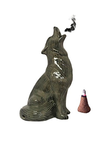 Mom's Majestics - 2018 Large Howling Wolf Smoking Cone Incense Burner (Glazed Black, Large) by Mom's Majestics - 2018