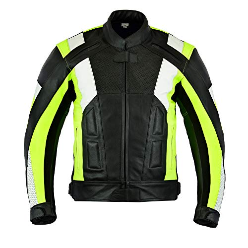 Mens Texpeed Black   Hi Vis Armoured Leather Motorcycle Motorbike Jacket -  M - 5XL  Amazon.co.uk  Clothing 2a84657d8