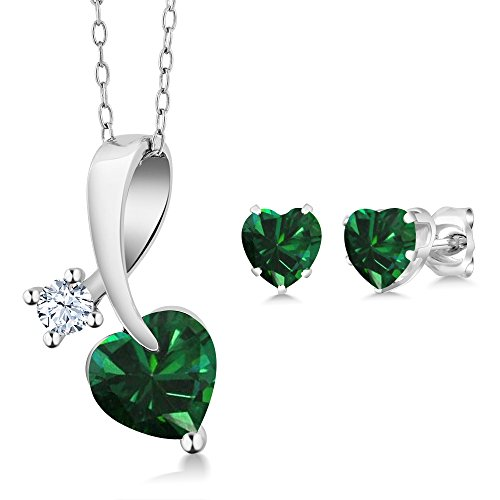 925 Sterling Silver Pendant Heart Shape Green Simulated Emerald Earrings Set 1.81 Ctw with 18 Inch Silver Chain