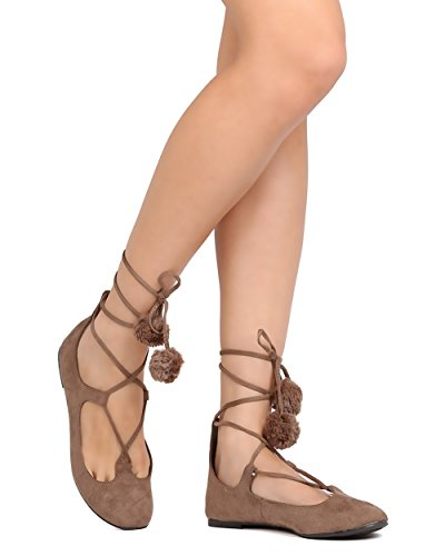 Breckelles Ga89 Donna Faux Suede Lace Up Pom Pom Ballet Flat Taupe
