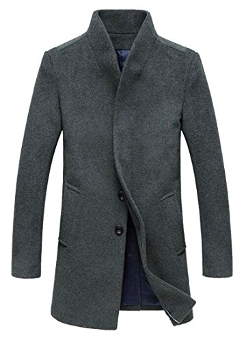 today 2 Wool Breasted UK Blend Overcoat Jacket Single Coat Long Slim Men's 4fA4rSPqw