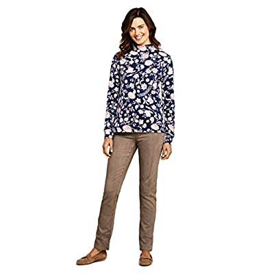 Lands' End Women's Relaxed Cotton Long Sleeve Mock Turtleneck at Women's Clothing store