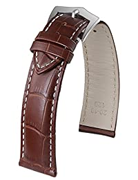 23mm High-End Brown Men's Watches Leather Strap Pin Clasp White Contrasting Stitching Medium Padding
