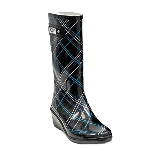 by Women Rubber Wedge Forever Black Plaid Boots Rain Young IUZpqxAUwn