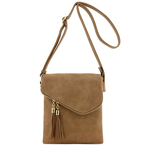 - Double Compartment Flapover Medium Crossbody Bag with Tassel Accent Tan