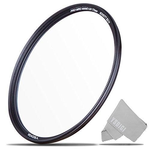 77mm UV Filter, YSDIGI UV Protection Lens Filter with Lens Cloth, Multi-Coated Ultraviolet UV, High Definition SCHOTT B270 Glass, Nano Coatings, Ultra-Slim, HD UV Filter for Outdoor - Glasses Definition