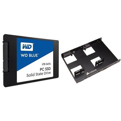 WD Blue 1TB Internal SSD Solid State Drive - SATA 6Gb/s 2.5 Inch - WDS100T1B0A & Corsair Dual SSD Mounting Bracket 3.5
