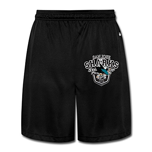 YQUE56 Men's San Jose Ice Hohey Team Logo Shorts Jogger Pants Color Black Size XL