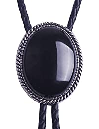 Bolo Tie with Black Stone Celtic Style Genuine and Cowhide Rope