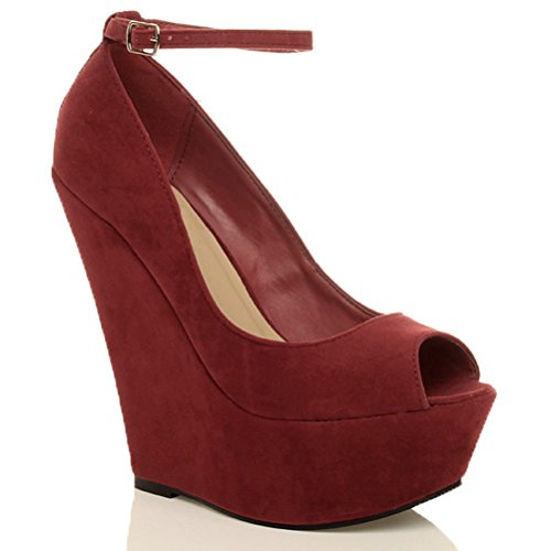 ankle size high Suede platform court Red peep ladies wedge Womens shoes toe heel strap Burgundy sandals nqZw7wxp