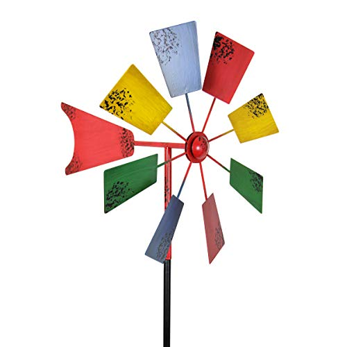 "Exhart Vintage Windmill Spinner Garden Stake - Pinwheel Outdoor Decor w/Multicolor Metal Spinners - Garden Windmill with Metal Blades in Red, Light Blue, Yellow and Green Color, 12"" L x 12"" W x 54H"