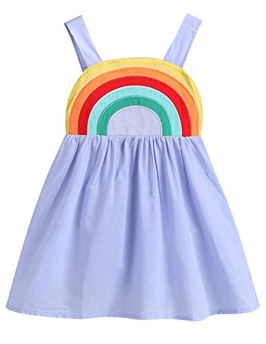 Little Girl Smocked Dresses (Toddler Baby Girl Dress Princess Sleeveless Tutu Rainbow Halter Summer Clothes Outfit (Blue, 18-24)