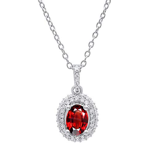 Dazzlingrock Collection 10K 7X5 MM Oval Garnet & Round Diamond Ladies Halo Pendant (Silver Chain Included), White Gold