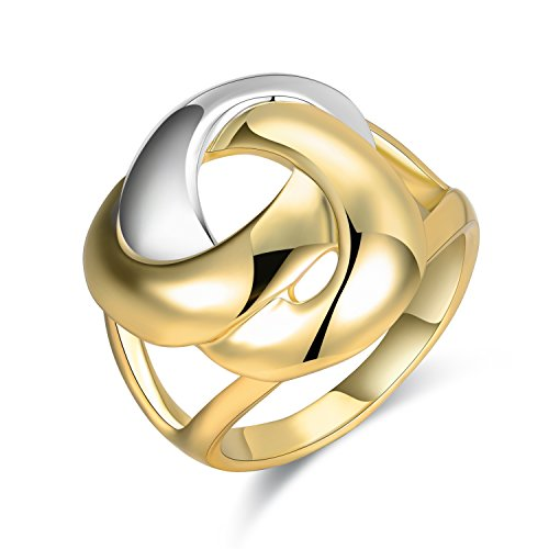 Mytys 2 Tone X Criss Cross Rings Silver Gold Knot Statement Ring Women Girl