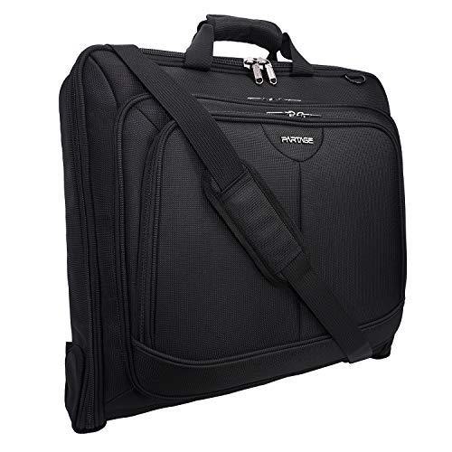 Partage Garment Bag for Travel & Business Trips-w/Shoulder Strap, Partage Waterproof Hanging Suit,Black