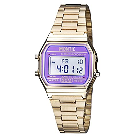 Montic Vintage Gold Metal Band Illuminator Chronograph Alarm Watch with Purple Dial (Purple Gold Watch)