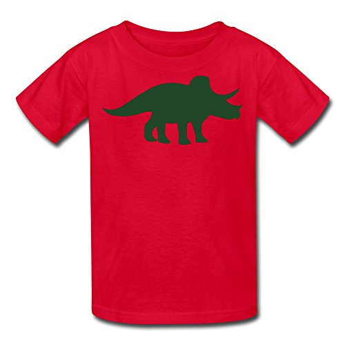 Triceratops Dinosaur Youth's T Shirt Red