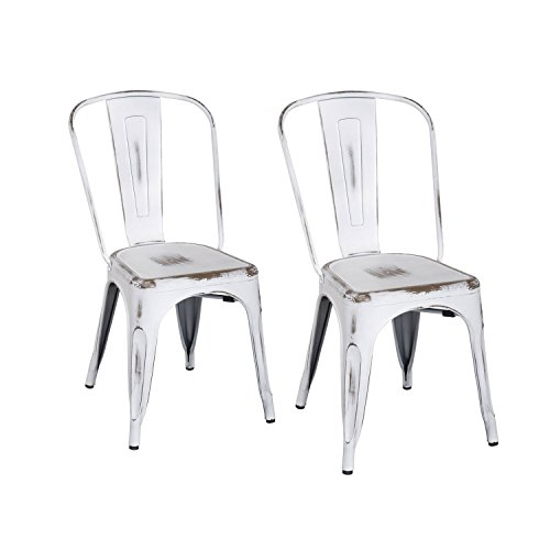 ELEGAN Metal Stackable Tolix Industrial Style Dining Chairs Distressed  White Indoor Outdoor Kitchen, Set Of 2