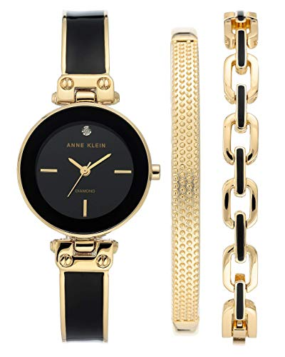 Anne Klein Women's Genuine Diamond Dial Gold-Tone and Black Watch with Bracelet Set, AK/3346BKST