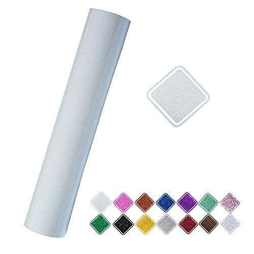Heat Transfer Vinyl Roll Glitter Colorful White 9.8x60 (0.8x5ft) for T-Shirt Clothing