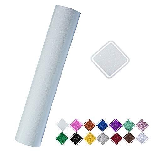 Heat Transfer Vinyl Roll Glitter Colorful White 9.8x60 (0.8x5ft) for T-Shirt Clothing