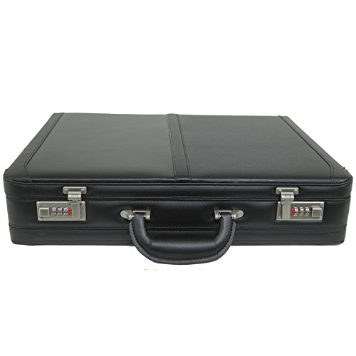 Alpine Swiss Expandable Leather Attache Briefcase Dual Combination Locks 1 Year Warranty by alpine swiss (Image #2)