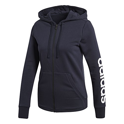 adidas Women's Essentials Linear Full Zip Hoodie Legend Ink/White X-Small by adidas (Image #1)