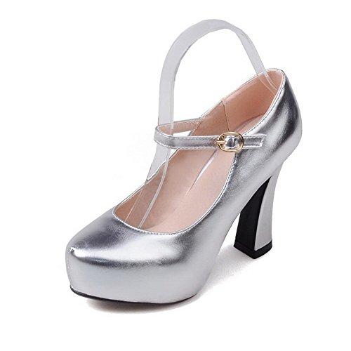 AllhqFashion Damen Rein Blend-Materialien Hoher Absatz Schnalle Rund Zehe Pumps Schuhe Silber